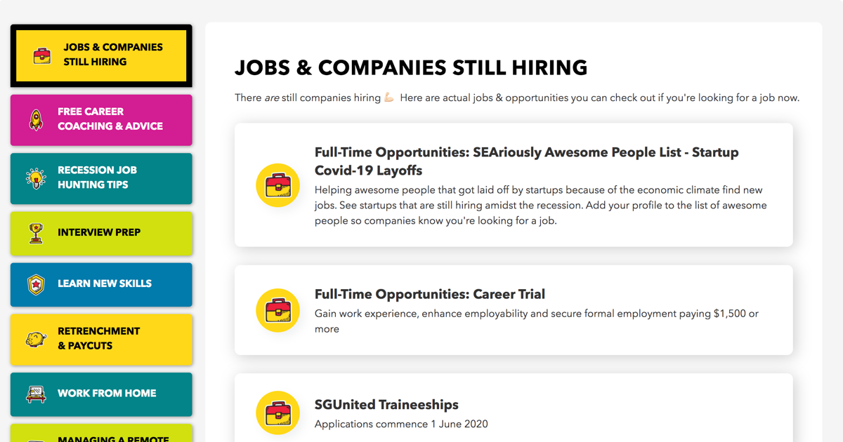 TalentTribe Covid-19 Career Resources Landing Page Preview