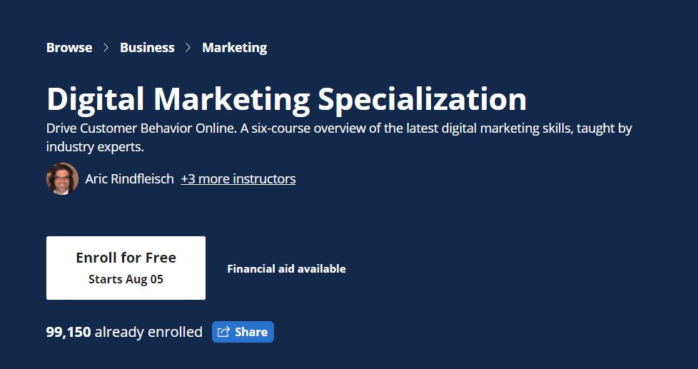 Coursera digital marketing specialization