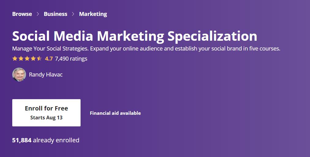 Coursera Social Media Marketing Specialisation
