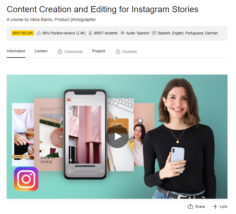 Domestika Content Creation and editing for Instagram stories