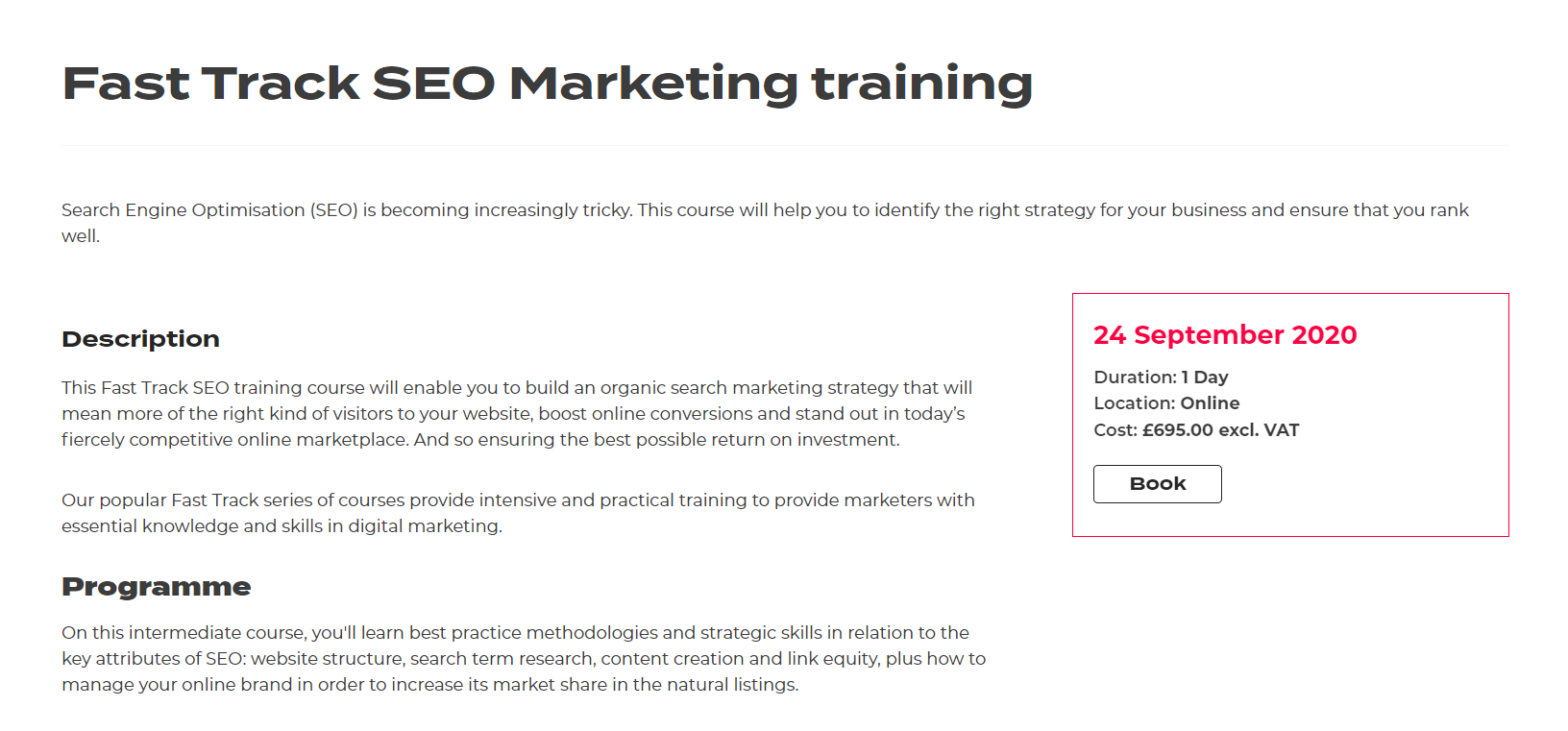 Econsultancy Fast Track SEO Marketing Training
