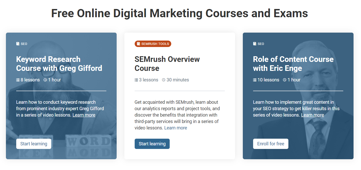 SEMRush free online digital marketing courses and exams