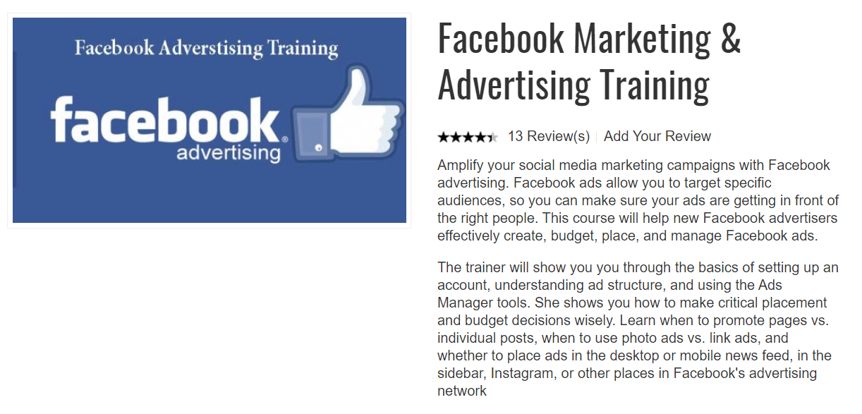 TertiaryCourses Facebook Marketing Advertising Training