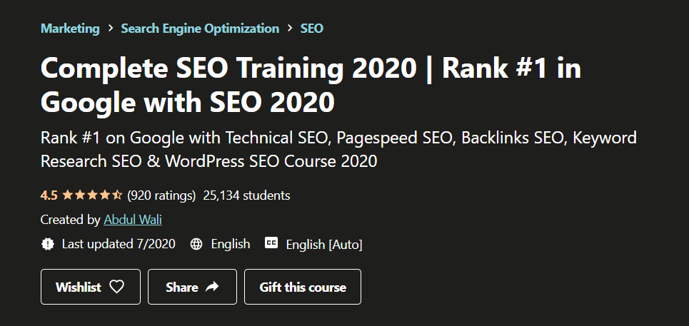 Udemy complete SEO Training