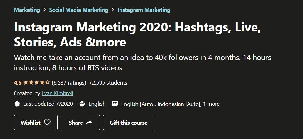 Udemy Instagram Marketing 2020