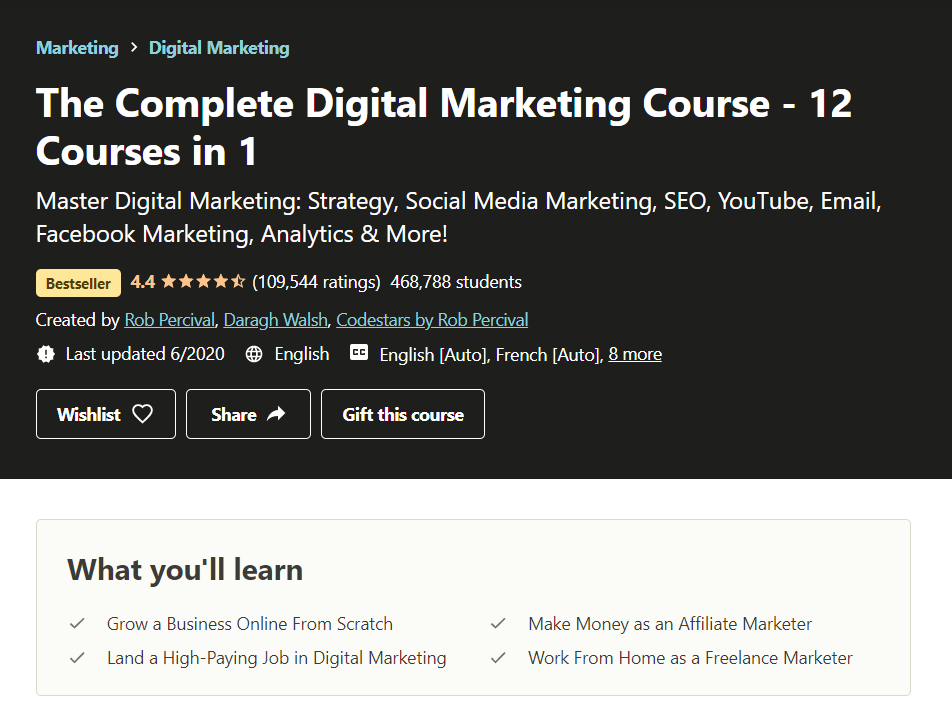 Udemy the complete digital marketing course - 12 courses in 1