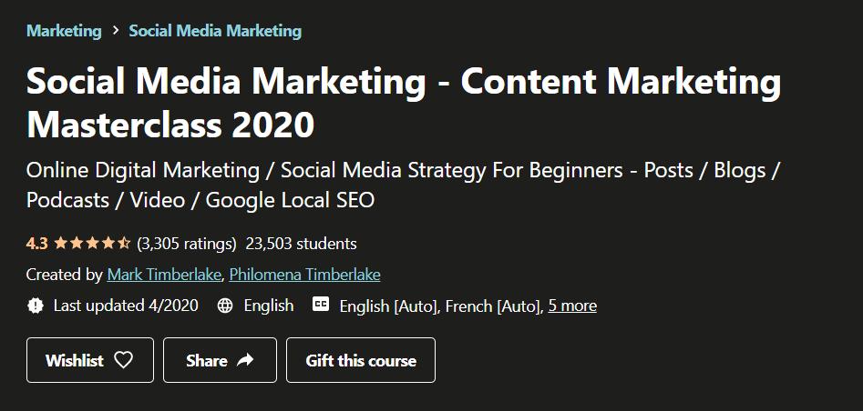 Udemy Social Media Marketing Content Marketing Masterclass