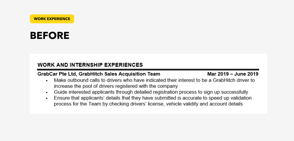 Work experience content of resume before revamp