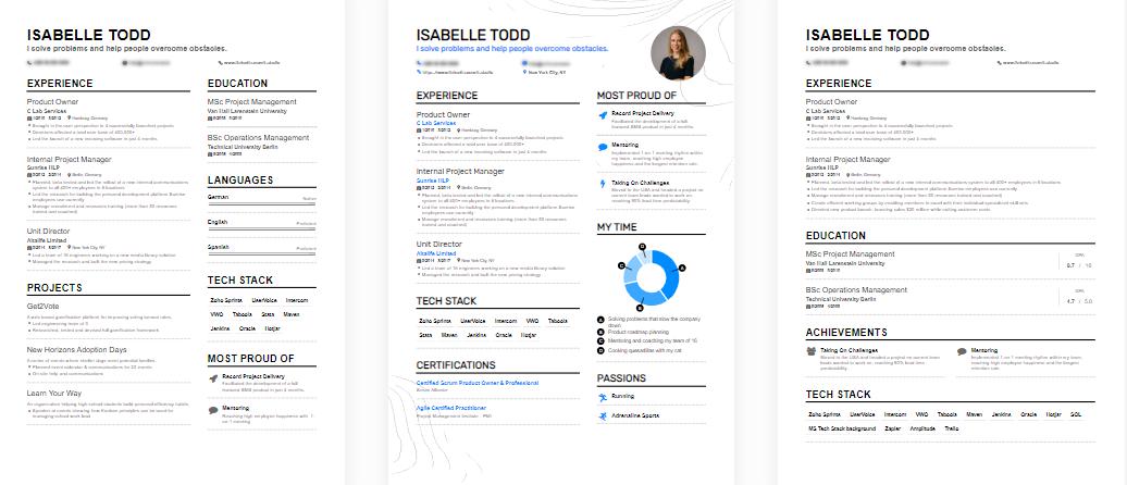 Resume sample templates from EnhanCV