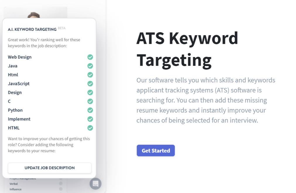 Rezi resume builder ATS Keyword targeting