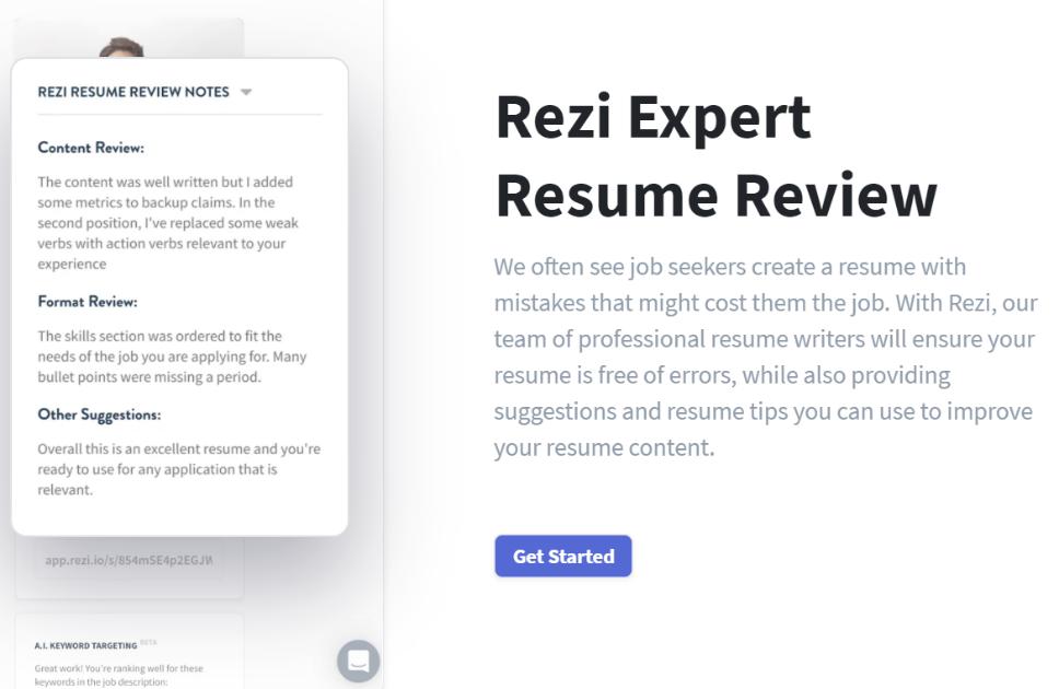Rezi resume builder expert resume review