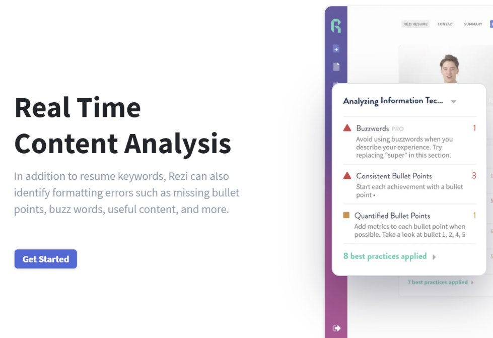 Rezi resume builder Real Time Content Analysis