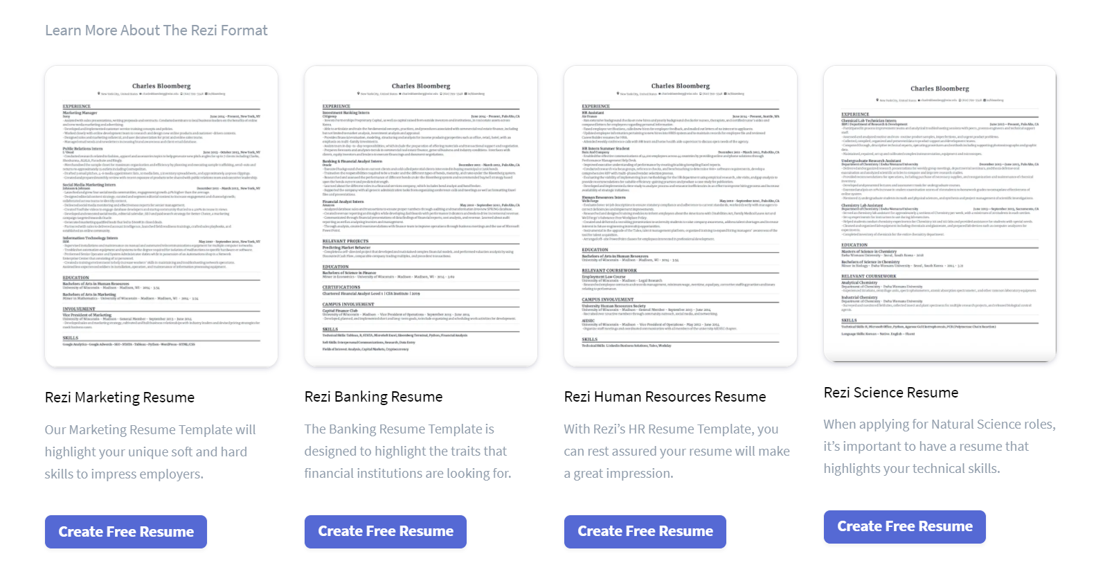 Sample resume templates from online resume builder Rezi